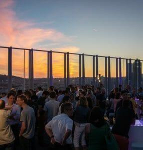 After work DJ mix sunset Lyon Bouygues construction