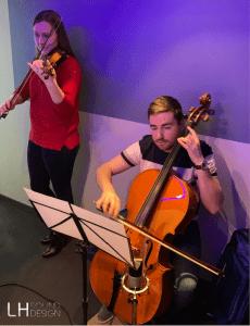 Héloïse et Baptiste au violon et violoncelle, dj lyon, LHSD, LH sound design, Ludovic Hautevelle, dj mariage